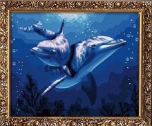 40*50cm dolphin oil painting by numbers canvas painting