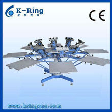 Manual 8 color/8 station rotary screen printing press with micro registration for t shirts KR880C