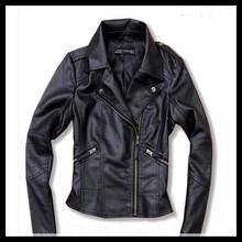 Women Ladies Vintage PU Biker Motorcycle Soft Leather Zipper Black Jacket Coat