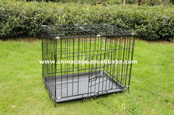 Folding metal wire double door dog cage