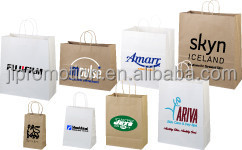 Elegante design paper bag with special put into ribbon handle and bow tie ribbon