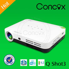 3D Mini LED Projector Q Shot3 1080p Built in Android 4.2 Quad-Core Player with wifi & Bluetooth