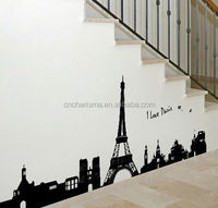 Eiffel Tower design pvc wall sticker for room decoration customized designs is acceptable