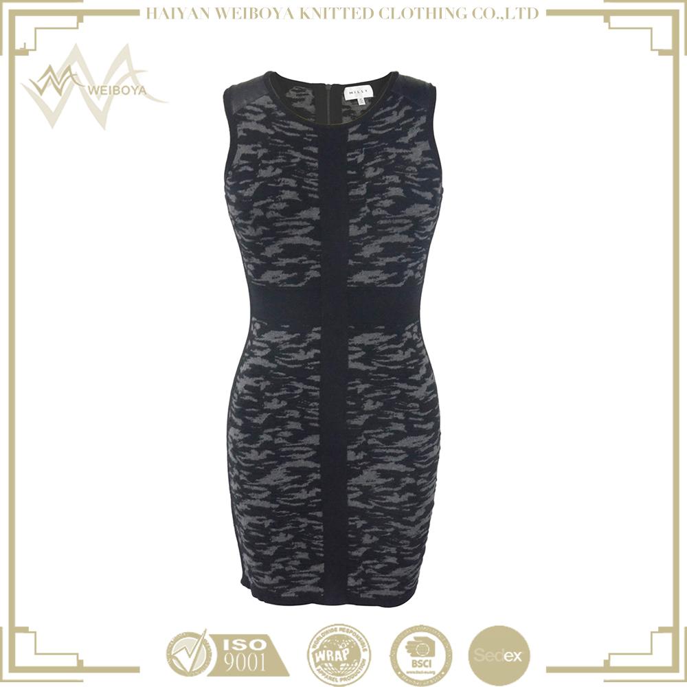 Рисунок двусторонний связей одна часть повседневной одежды для женщин платье короткое