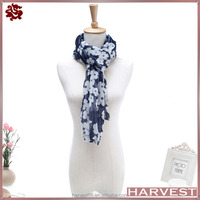 Christmas Gift Flower Printing 100% Viscose Scarf For Spring