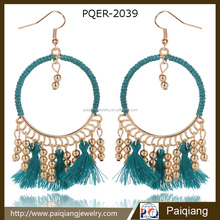 Unique design bohemian ethnic vintage big leather hoop bead drop earrings