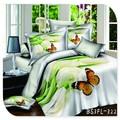 4 100% piezas de puro algodón y verde de la mariposa reactiva impresas 3d conjunto ropa de cama
