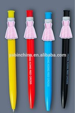Princess cartoon clip gift pen decorated dress on the top of the pen specially for kids