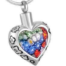 SRP8367 Fashion Jewelry 2015 Multi-Color Murano Glass Heart Shape 316L Stainless Steel Cremation Urn Pendant