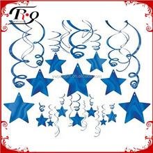 baby shower supplies blue foil star hanging decoration