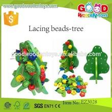 Más nuevos del diseño niños juguetes perlas cordón árbol OEM educativos de madera de los granos del árbol EZ3028