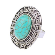 Wholesale fashion jewelry latest fashion oval shaped turquoise rings