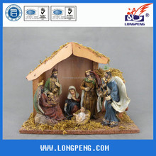 Resin Figurine of the Holy Family,the Birth of Jesus with Wooden House