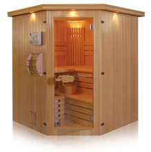 6-person corner sauna and steam combined room ,Wood steam sauna room