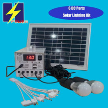 6 LED Lamps Solar Home System 12V+5V DC Output 7AH 12AH 10W 20W 30W Solar Panel