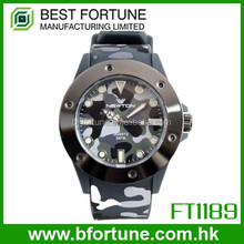 FT1189_GR Colorful Silicone Strap Japan quartz movt soldier Camouflage War style Camouflage Watch