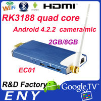 RK3188 quad core 2GB/8GB watch free movies online internet tv box top selli with camera and mic EC01