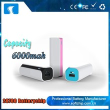 OEM 6000 mah portable USB mobile phone Power Bank for macbook pro /ipad mini