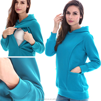 Wholesale Cotton Thermal Big Size Maternity clothes Pregnant Hoodie Breastfeeding tops Nursing