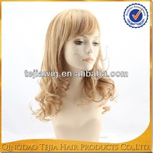 Latest fashion long platinum blonde german synthetic hair wigs