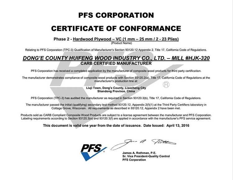 plywood certificate