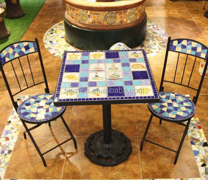 Fer forg table de jardin et chaises c ramique mosa que for Table exterieur fer forge mosaique