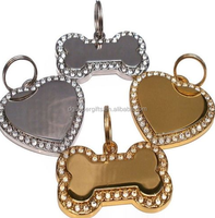 Diamond Bling Bone/Heart Shape Engraved Pet Tags Dog/ Name Tags