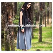 2014 de verano superior calidad tie dye plisada tamaño más larga vestidos de algodón liso g132y033 venta