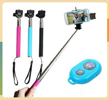 Extendable Self Portrait Selfie Stick Handheld Monopod + Wireless Bluetooth Remote Shutter Control for IOS Android Phones Z07-1