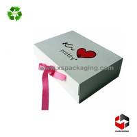 custom print ribbon closure flat folding magnetic closure gift box