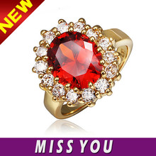 natural ruby jewelry , 2015 zircon 18k yellow gold plated ring