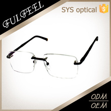 Frameless rectangle metal temple spectacle frames