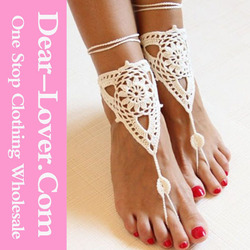 White Flower Crochet Barefoot Sandals Foot Anklet with Toe Ring