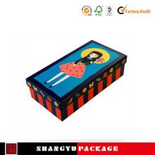 2015 lovely custom black paper shoe box packaging