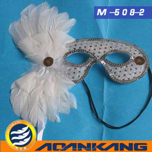 beautiful and good-selling white ostrich feather mask for fancy ball ---China supplier