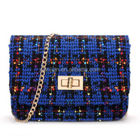 Wholesale Latest New Korea Style Wool Blends Bag|Woolen Chain Clutch Bag (XJSF11)