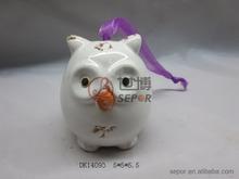 Lovely white owl for sale ceramic hanging ornament