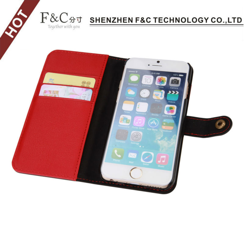 Luxury design stand leather case cover for apple iphone 6 4.7''