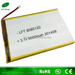 8080120 high capacity 3.7v rechargeable battery for tablet 9000mah