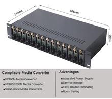High Quality Rack Mount 2U 14 Ports Media Converter Chassis
