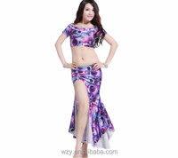 Sexy Summer Printing Belly Dance Practice Wear For Dancing Girls