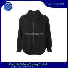Heavy Cotton High Quality Long Sleeves Plain Black Hoodie with Zipper