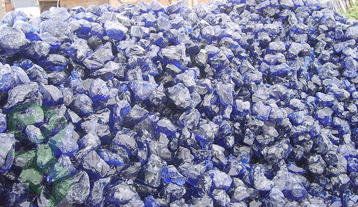 Clair et naturel couleur bleu cobalt laitier verre rocks gabion et am nagement paysager - Verre pile piscine ...