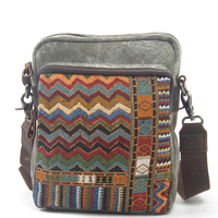 Washed canvas with cowhide Crossbody Shoulder Bags