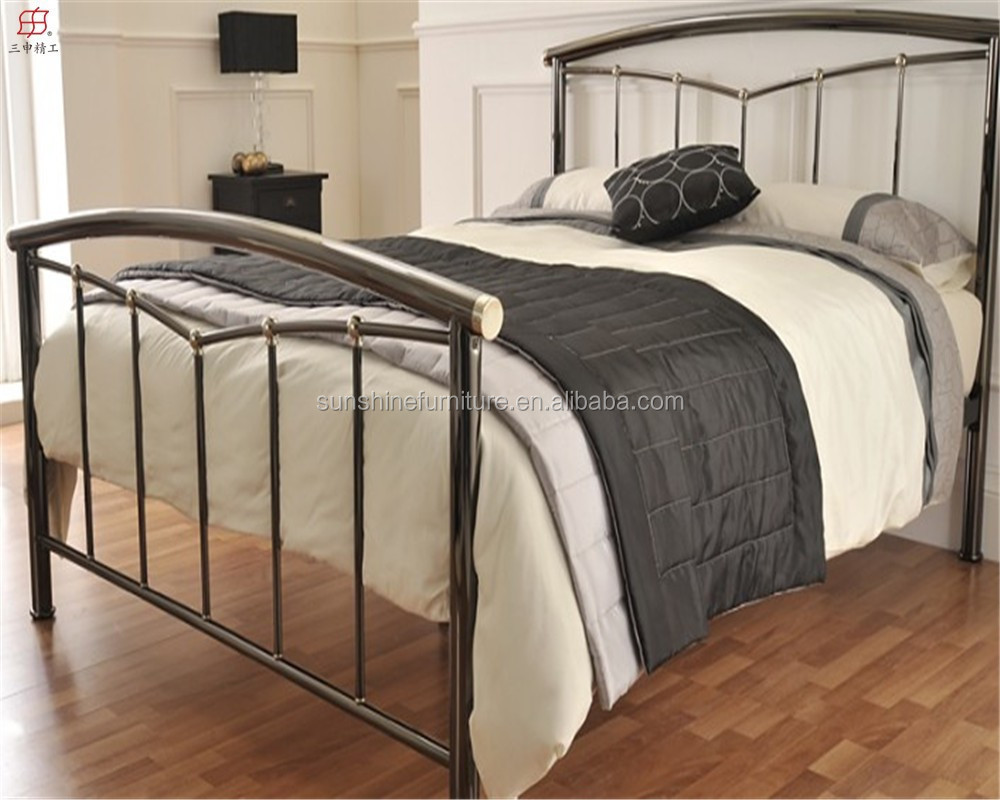 factory low price bedroom furniture wooden slats metal bed , simple ...