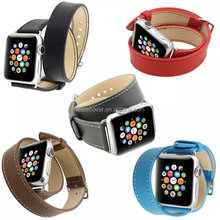 2015 New Product Unique Design Double Tour Size Leather Strap For Apple Watch 42mm with Adapter