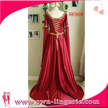 Comercio al por mayor barato atractivo vestido largo traje medieval