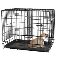 Black Plastic Tray Folding Metal Dog Crate