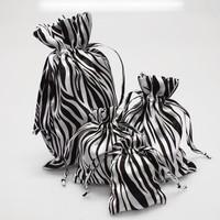 Zebra Print White Black Satin Pouch Gift Bag