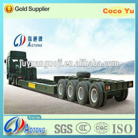 China supplier 4 axles concave beam lowbed semi trailer with 12 tyres